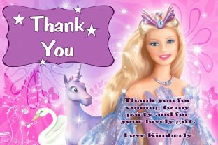 Personalised Barbie Thank You Cards